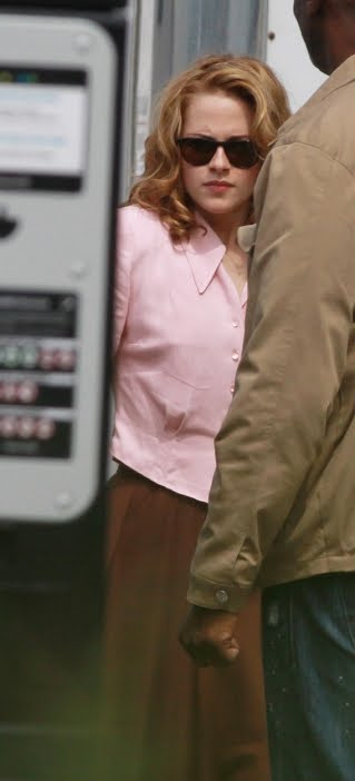 After the jump, an image of blond Kristen Stewart on the set of ON THE ROAD